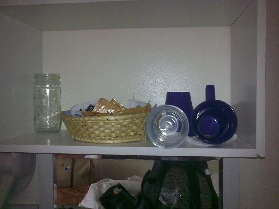 Guilford House Hotel: jam jar anyone? and dirty mugs? disgusting