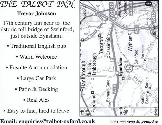 The Talbot Inn: Back of there card