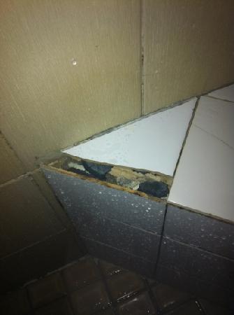 Palm Bungalows : broken tiles in bathroom