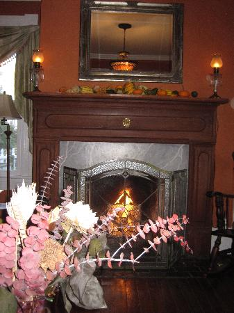 Foster Harris House: Warm fire in living room