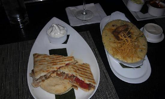 Uproot Restaurant: chicken flat bread and shrimp grits