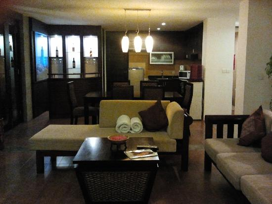 The Sanyas Suite Seminyak: living room + kitchen area