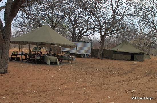 andBeyond Chobe Under Canvas: The dining tent and cooking tent
