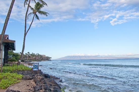 Hale Kai Oceanfront Condominiums: View down the beach towards Lahaina from the pool.