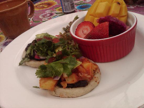 Vintage Sol: Day 1 Breakfast-- Vegan Sopes with fruit and Cactus salad