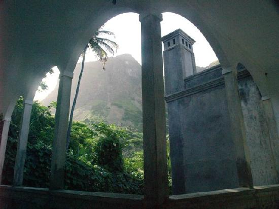 Brava, Cape Verde: View of mountains behind hotel