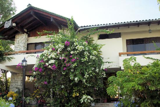 CasaGrande Oceanfront Boutique Hotel: Front of house with bougainvillea.