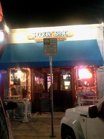 outside of Shuckin Shack at night