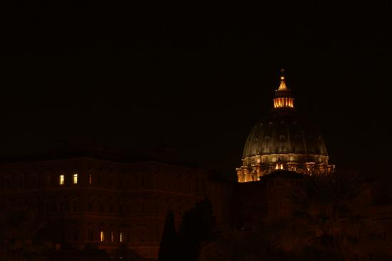 Vatican Vista: The view from our room at night - the lights on the left means the Pope is in residence!