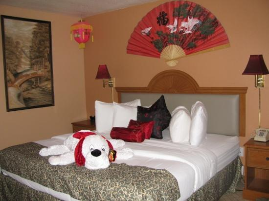 """Prospector Hotel and Gambling Hall: A friendly pup welcomed us to the """"Oriental room""""."""