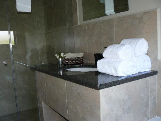 False Bay View: Full en suite bathroom with large walk in shower and seperate bath