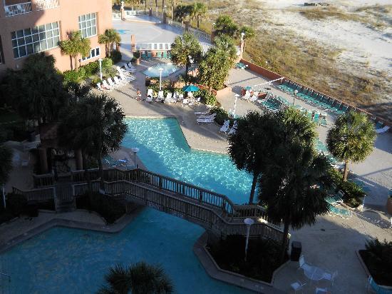 Perdido Beach Resort: balcony view of huge pool ~ many separate sunning areas