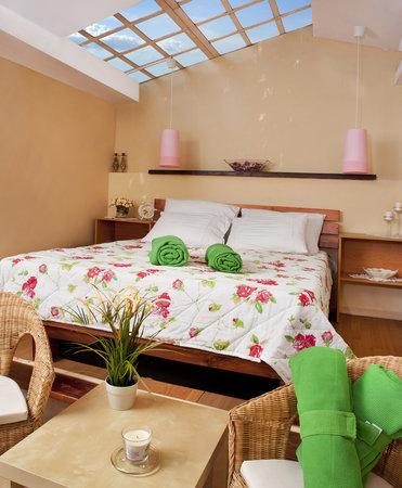 Nevo's Inn: cosy skylite master bed