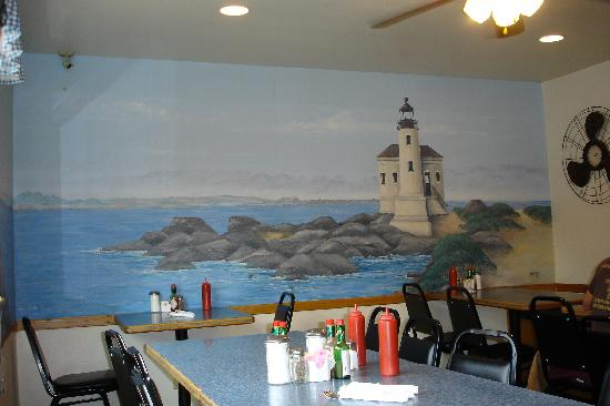 Minute Cafe: cute mural in back room