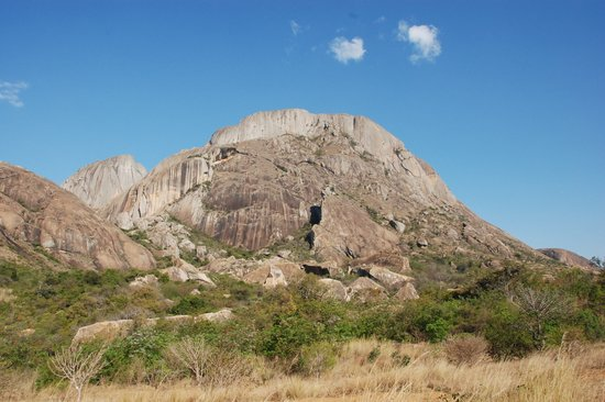 Ambalavao, Madagaskar: Anja Reserve: forest with granite mountain backdrop