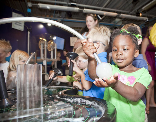 Children's Museum of Denver: Vapor filled bubbles in the exhibit all full of soapy science.