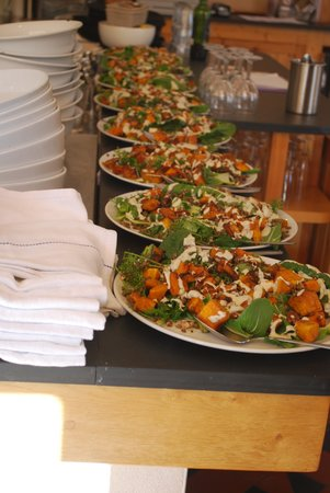 The Riverford Field Kitchen: One of the many vegetable dishes served
