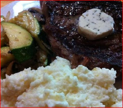 Hunley's Tavern: Grilled ribeye with Rosemary compound Butter