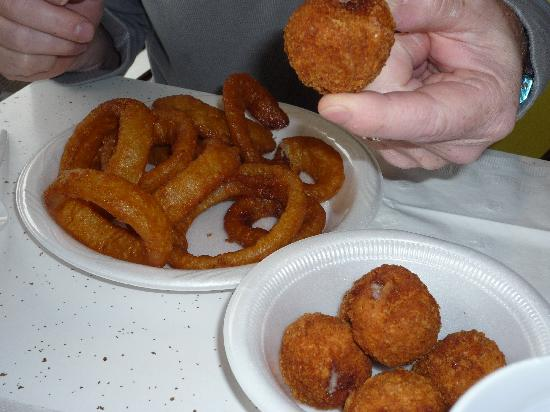 Dixie Lee Fried Chicken: Onion rings & blue balls (cordon bleu balls)