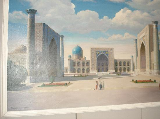 Régistan : a painting of Registan, at Amer Temur Musem, Tashkent.