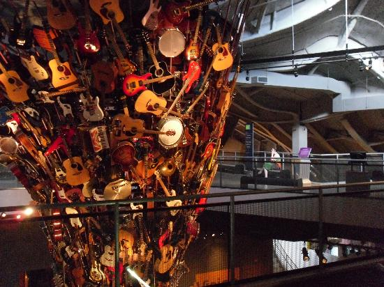 Museum of Pop Culture: It's a column of musical instruments at EMP