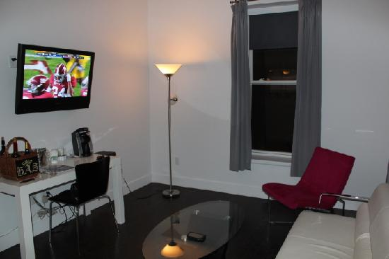The Gould Hotel: large flat screen TV, one of 2 in room