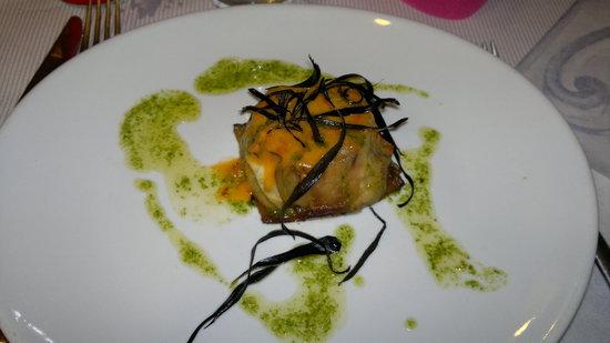 D'Azeglio Bistrot: tortino di melanzana, bufala e pesce spada
