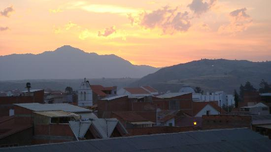 # Pachamama Hostel: Sunset from upper floor balcony