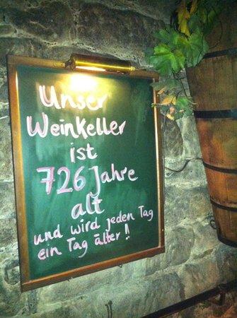 Weinkeller Einhorn: 726 year old wine cellar!
