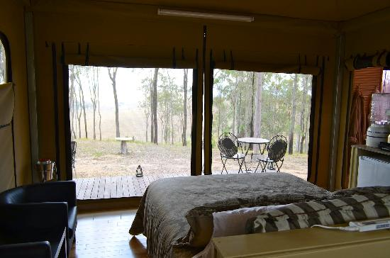 Ketchup's Bank Glamping: Tent interior with view