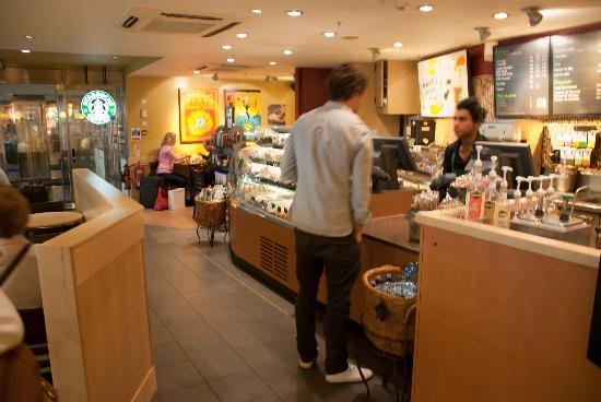 Inside Starbucks at Paddington Train Station