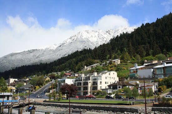 The Waterfront: View of hotel from Queenstown wharf