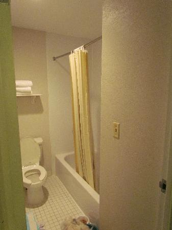 La Quinta Inn Cleveland Independence: Small, Dingy Bathroom - needed cleaning