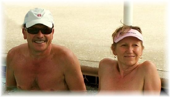 Living Waters Clothing-optional Spa: A couple of guests enjoying our amazing mineral water