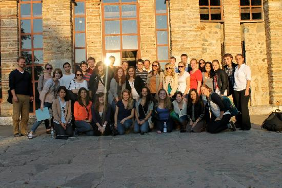 Medieval Monuments in Kosovo: A group of visitors in front of Gracanica Monastery