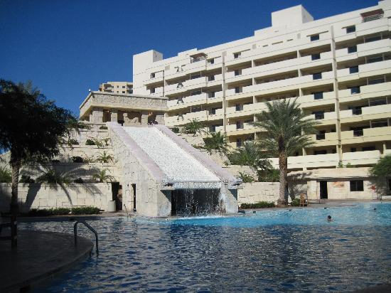 Cancun Resort Pool With Mayan Pyramid Waterfall And Water Slides