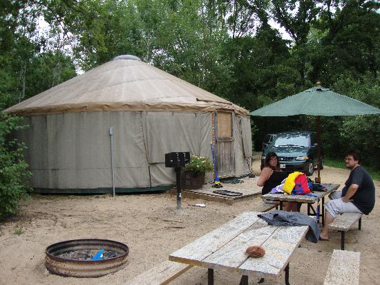 Baraboo Hills Campground: the outside of a yurt - the inside is more awesome but hard to capture on film