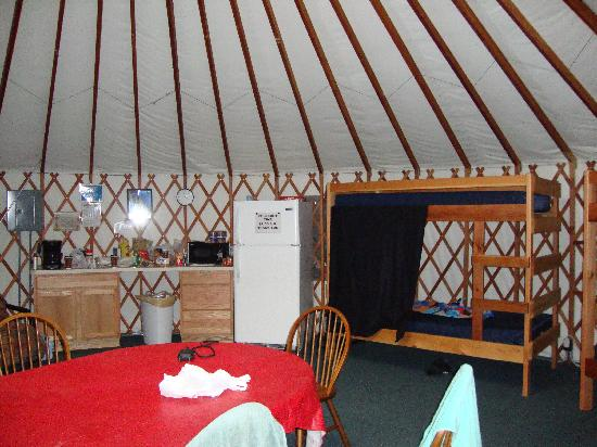 Baraboo Hills Campground: limited view of the inside of the yurt
