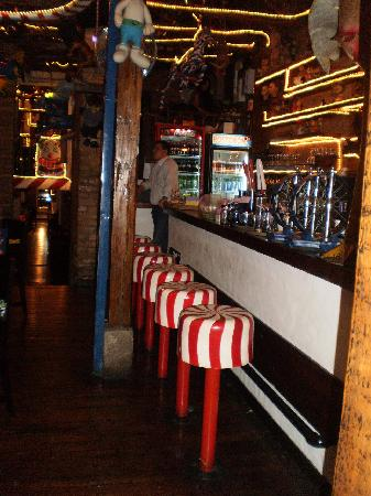 "La Jugueteria Macarena: Cool bar area with ""candy"" bar stools"