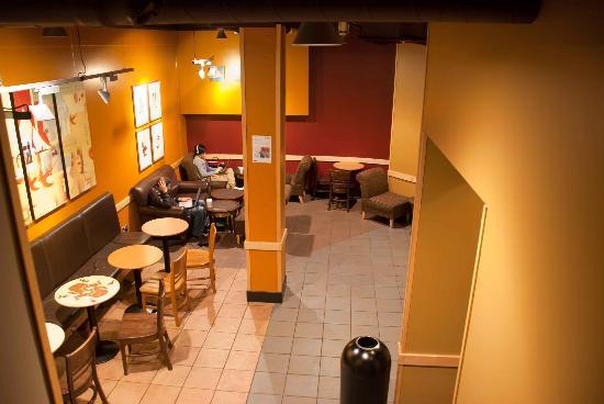 Starbucks: Looking over the underground seating area