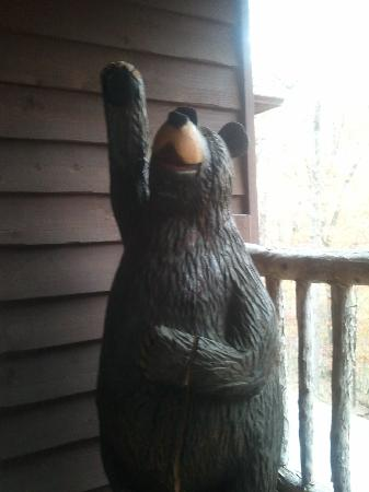 The Woods Resort & Treehouse: Bear on front porch