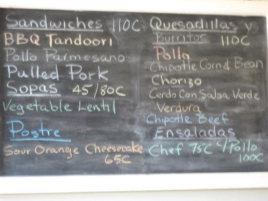 Restaurante El Garaje: menu..22.6C = 1us$