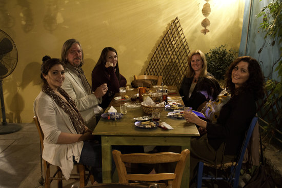 Cyprus Taste Tours: My friends with Louisa and Yiota - this place had the coolest environment
