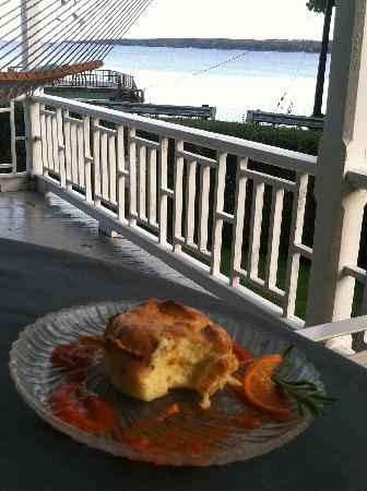 Silver Strand at Sheldrake: Breakfast on the porch of Silver Strand. Delicious.
