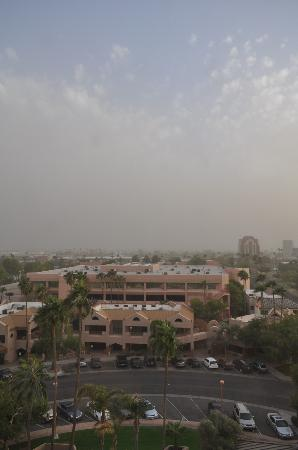 Phoenix Marriott Mesa: view from the 8th floor, dust storm blowing in