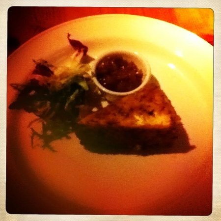 Saffrons Bistro : Hipstamatic shot - Melting brie in herb coating with handmade spicy fig relish 12 nov 2011