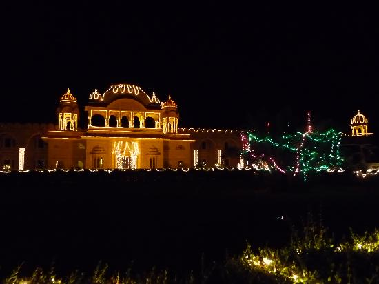 Fort Rajwada: Front view at night with Diwali lights