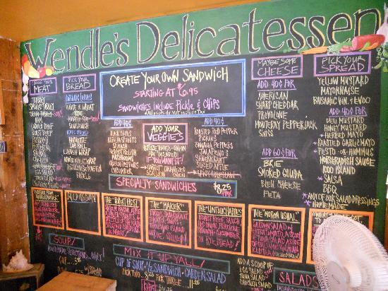 Wendle's Delicatessen & Cafe : Menu Board