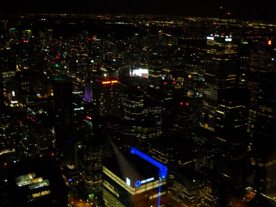 the restaurant at the cn tower night time toronto from restaurant