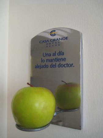 Casa Grande Suites: an apple a day.... (next to the door)